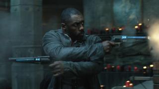 Idris Elba shows off his flashy gun skills as Roland in The Dark Tower